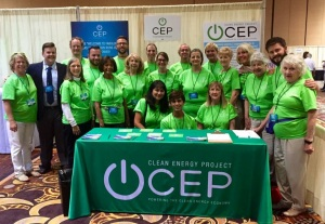 CEP volunteers and Jarrett Clark, Program and Outreach Director, at CEP booth, NCES8.  Monday, August 24, 2015.