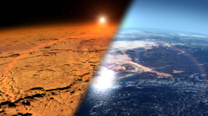 An artist's rendition of what Mars may have looked like with an Earth-like atmosphere.